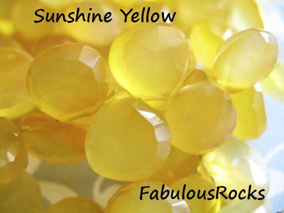 2-20 Pcs / Chalcedony Gems Beads Briolettes, Faceted Hearts / Aaa, 10.5-12 Mm, Large, Sunshine Citrine Yellow, November Birthstone Bgg Solo