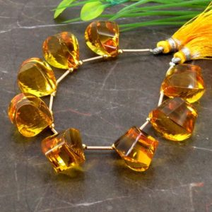 Shop Citrine Bead Shapes! Hydro Citrine 17.5-18mm Step Cut Drops Briolette Beads / Approx 8 pieces on 6 Inch long strand / JBC-ET-153765 | Natural genuine other-shape Citrine beads for beading and jewelry making.  #jewelry #beads #beadedjewelry #diyjewelry #jewelrymaking #beadstore #beading #affiliate #ad