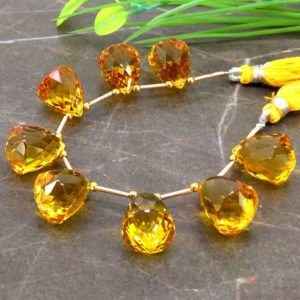 Shop Citrine Bead Shapes! Hydro Citrine 17mm Faceted Cone Drops Briolette Beads / Approx 8 pieces on 6 Inch long strand / JBC-ET-153766 | Natural genuine other-shape Citrine beads for beading and jewelry making.  #jewelry #beads #beadedjewelry #diyjewelry #jewelrymaking #beadstore #beading #affiliate #ad