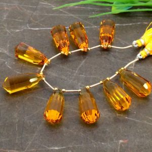 Shop Citrine Bead Shapes! Hydro Citrine 28mm Step Cut Long Drops Briolette Beads / Approx 9 pieces on 6 Inch long strand / JBC-ET-153763 | Natural genuine other-shape Citrine beads for beading and jewelry making.  #jewelry #beads #beadedjewelry #diyjewelry #jewelrymaking #beadstore #beading #affiliate #ad