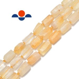 "Shop Citrine Beads! Natural Citrine Faceted Matte Cylinder Tube Beads Approx 8x15mm 15.5"" Strand 