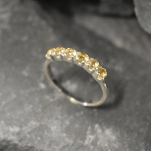 Shop Citrine Rings! Citrine Band, Natural Citrine, November Birthstone, Half Eternity Ring, Yellow Diamond Ring, Vintage Ring, Eternity Band, Solid Silver Ring | Natural genuine Citrine rings, simple unique handcrafted gemstone rings. #rings #jewelry #shopping #gift #handmade #fashion #style #affiliate #ad