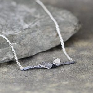 Shop Diamond Necklaces! Twig and Leaf Raw Diamond Necklace – Natural Rough Uncut Diamond – Sterling Silver –  Nature Inspired Woodland Jewellery | Natural genuine Diamond necklaces. Buy crystal jewelry, handmade handcrafted artisan jewelry for women.  Unique handmade gift ideas. #jewelry #beadednecklaces #beadedjewelry #gift #shopping #handmadejewelry #fashion #style #product #necklaces #affiliate #ad