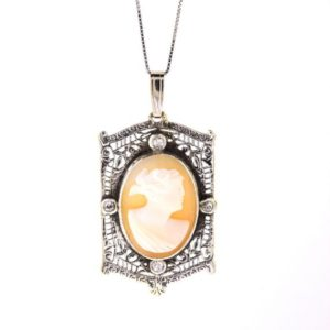 Shop Diamond Pendants! Antique Cameo Pendant, Sterling Silver Diamond Cameo Necklace, Victorian Cameo Necklace | Natural genuine Diamond pendants. Buy crystal jewelry, handmade handcrafted artisan jewelry for women.  Unique handmade gift ideas. #jewelry #beadedpendants #beadedjewelry #gift #shopping #handmadejewelry #fashion #style #product #pendants #affiliate #ad