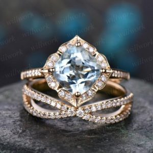 Blue aquamarine engagement ring set solid 14k yellow gold handmade diamond wedding ring 2PC stacking ring floral promise bridal ring set | Natural genuine Gemstone rings, simple unique alternative gemstone engagement rings. #rings #jewelry #bridal #wedding #jewelryaccessories #engagementrings #weddingideas #affiliate #ad