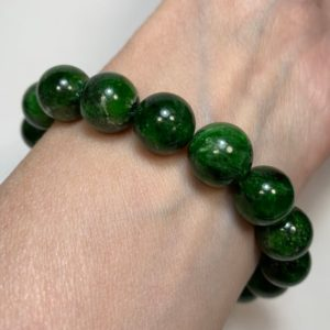 Shop Diopside Bracelets! CHROMIAN DIOPSIDE Crystal Bracelet – Chrome Diopside Round Beads – Stretch Bracelet – AAA Grade – Genuine Stone – Natural- Gift- From Russia | Natural genuine Diopside bracelets. Buy crystal jewelry, handmade handcrafted artisan jewelry for women.  Unique handmade gift ideas. #jewelry #beadedbracelets #beadedjewelry #gift #shopping #handmadejewelry #fashion #style #product #bracelets #affiliate #ad