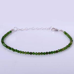 Shop Diopside Bracelets! Natural Chrome Diopside Micro Faceted Round Beads Bracelet Beautiful Green Chrome Diopside Bracelet Gift For Girlfriend Christamas Gift | Natural genuine Diopside bracelets. Buy crystal jewelry, handmade handcrafted artisan jewelry for women.  Unique handmade gift ideas. #jewelry #beadedbracelets #beadedjewelry #gift #shopping #handmadejewelry #fashion #style #product #bracelets #affiliate #ad