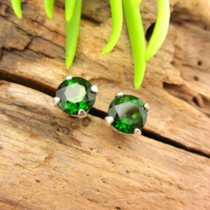Shop Diopside Earrings! Chrome Diopside Studs – Genuine Chrome Diopside Stud Earrings, Real 14k Gold or Platinum Screw Backs – 3mm, 5mm | Natural genuine Diopside earrings. Buy crystal jewelry, handmade handcrafted artisan jewelry for women.  Unique handmade gift ideas. #jewelry #beadedearrings #beadedjewelry #gift #shopping #handmadejewelry #fashion #style #product #earrings #affiliate #ad
