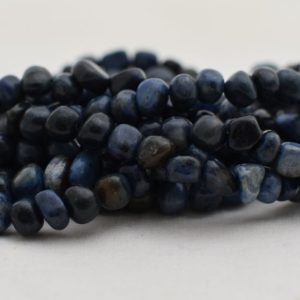 """Shop Dumortierite Beads! High Quality Grade A Natural Dumortierite Semi-Precious Gemstone Tumbled Stone Nugget Pebble Beads – approx 5mm – 8mm – 15.5"""" strand 