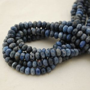"""Shop Dumortierite Beads! High Quality Grade A Natural Dumortierite Semi-precious Gemstone FACETED Rondelle / Spacer Beads – 6mm x 4mm – 15.5"""" strand 
