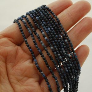 """Shop Dumortierite Beads! High Quality Grade A Natural Dumortierite Semi-Precious Gemstone FACETED Round Beads – approx 2mm – 15.5"""" strand 