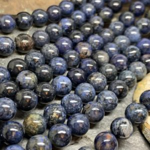 Shop Dumortierite Beads! Deep blue natural Dumortierite high quality round beads 8mm | Natural genuine round Dumortierite beads for beading and jewelry making.  #jewelry #beads #beadedjewelry #diyjewelry #jewelrymaking #beadstore #beading #affiliate #ad