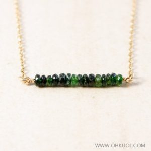 Shop Green Tourmaline Jewelry! Emerald Green Tourmaline Bar Necklace, Gold or Silver, Row of Stones, Tumbled Gemstones | Natural genuine Green Tourmaline jewelry. Buy crystal jewelry, handmade handcrafted artisan jewelry for women.  Unique handmade gift ideas. #jewelry #beadedjewelry #beadedjewelry #gift #shopping #handmadejewelry #fashion #style #product #jewelry #affiliate #ad