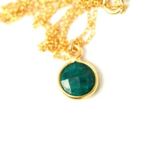 Shop Emerald Necklaces! Emerald necklace – may birthstone – teardrop necklace – a 22k gold lined genuine green emerald on a 14K gold vermeil chain | Natural genuine Emerald necklaces. Buy crystal jewelry, handmade handcrafted artisan jewelry for women.  Unique handmade gift ideas. #jewelry #beadednecklaces #beadedjewelry #gift #shopping #handmadejewelry #fashion #style #product #necklaces #affiliate #ad