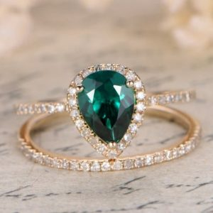 2 Rings Set, Emerald Wedding Ring Set, Pear Cut Emerald Engagement Ring, Diamond Wedding Matching Band, Bridal Set, 14k Yellow Gold | Natural genuine Gemstone rings, simple unique alternative gemstone engagement rings. #rings #jewelry #bridal #wedding #jewelryaccessories #engagementrings #weddingideas #affiliate #ad