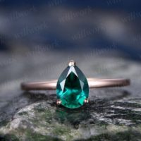 Emerald Engagement Ring Solitaire Tear Drop Emerald Ring Vintage Solid 14k Rose Gold Ring May Birthstone Wedding Women Promise Bridal Ring | Natural genuine Gemstone jewelry. Buy handcrafted artisan wedding jewelry.  Unique handmade bridal jewelry gift ideas. #jewelry #beadedjewelry #gift #crystaljewelry #shopping #handmadejewelry #wedding #bridal #jewelry #affiliate #ad