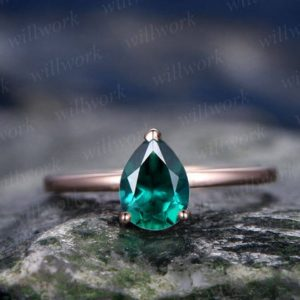 Emerald engagement ring solitaire tear drop emerald ring vintage solid 14k rose gold ring May birthstone wedding women promise bridal ring | Natural genuine Array rings, simple unique alternative gemstone engagement rings. #rings #jewelry #bridal #wedding #jewelryaccessories #engagementrings #weddingideas #affiliate #ad