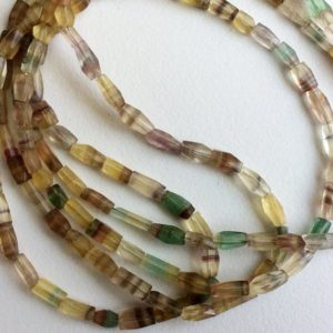 6-11mm  Fluorite Faceted Beads, Natural Multi Fluorite Tube Beads, Rainbow Faceted Fluorite Beads 13 Inch Fluorite For Jewelry – PUSSG78 | Natural genuine other-shape Gemstone beads for beading and jewelry making.  #jewelry #beads #beadedjewelry #diyjewelry #jewelrymaking #beadstore #beading #affiliate #ad