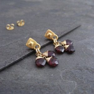 Shop Garnet Jewelry! Garnet earrings, dainty dangle, teardrop cluster, faceted garnet, briolette drops, oxidized silver, square studs, genuine gemstone, red | Natural genuine Garnet jewelry. Buy crystal jewelry, handmade handcrafted artisan jewelry for women.  Unique handmade gift ideas. #jewelry #beadedjewelry #beadedjewelry #gift #shopping #handmadejewelry #fashion #style #product #jewelry #affiliate #ad
