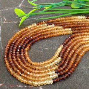 Shop Garnet Faceted Beads! WHOLESALE! Natural Hessonite Garnet 3-3.5mm Micro Faceted Rondelle Gemstone Beads / Approx 140 pieces on 14 Inch long strand / JBC-ET-115901   Natural genuine faceted Garnet beads for beading and jewelry making.  #jewelry #beads #beadedjewelry #diyjewelry #jewelrymaking #beadstore #beading #affiliate #ad