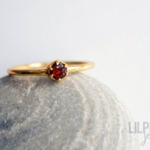 Shop Garnet Rings! 3mm RED GARNET gold ring. HEXAGON gem gold vermeil dainty ring geometric stacking ring wine red gem ring | Natural genuine Garnet rings, simple unique handcrafted gemstone rings. #rings #jewelry #shopping #gift #handmade #fashion #style #affiliate #ad