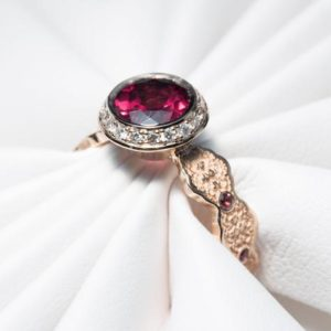 Garnet Birthstone Ring, Mother's Birthstone Ring, Rhodolite Garnet Ring, Unique Engagement Ring, Diamond Halo Ring, Gold Lace Ring, Mothers | Natural genuine Array rings, simple unique alternative gemstone engagement rings. #rings #jewelry #bridal #wedding #jewelryaccessories #engagementrings #weddingideas #affiliate #ad