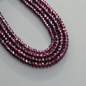 "Shop Garnet Rondelle Beads! Purple Garnet Beads Natural Gemstone Top Quality Purple Garnet Beads 15"" Strand Rondelle 3 Mm Size Purple Garnet Supplies Best Price 