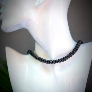 Shop Shungite Necklaces! CUSTOM SIZING Genuine Shungite EMF Protection 5mmx 8mm Smooth Rondelle Black Bead Necklace Length Choker Anklet Bracelet | Natural genuine Shungite necklaces. Buy crystal jewelry, handmade handcrafted artisan jewelry for women.  Unique handmade gift ideas. #jewelry #beadednecklaces #beadedjewelry #gift #shopping #handmadejewelry #fashion #style #product #necklaces #affiliate #ad