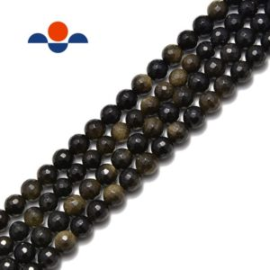 "Natural Gold Sheen Obsidian Faceted Round Beads 6mm 8mm 10mm 15.5"" Strand 