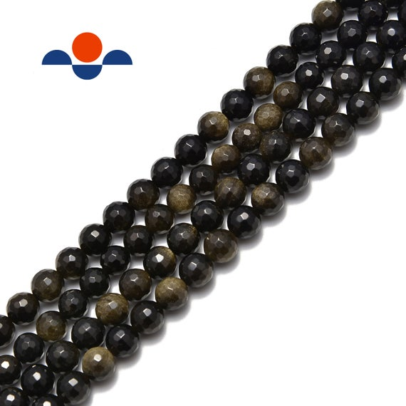 """Natural Gold Sheen Obsidian Faceted Round Beads 6mm 8mm 10mm 15.5"""" Strand"""
