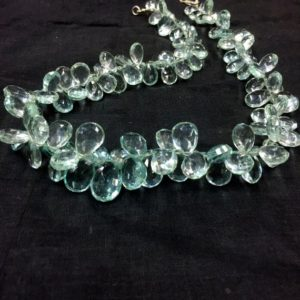 "Shop Green Amethyst Beads! Green Amethyst Color Hydro Quartz Faceted Beads Pear Shape Beads 8-10mm Beads 18"" Strand Approx 