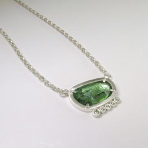 Shop Green Tourmaline Pendants! Green Tourmaline Pendant With Sapphire Accent Stone In Sterling Silver – Rosecut Green Tourmaline – Handmade Pendant – Ready To Ship! | Natural genuine Green Tourmaline pendants. Buy crystal jewelry, handmade handcrafted artisan jewelry for women.  Unique handmade gift ideas. #jewelry #beadedpendants #beadedjewelry #gift #shopping #handmadejewelry #fashion #style #product #pendants #affiliate #ad