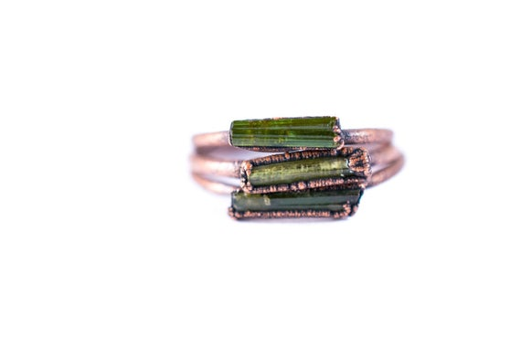 Raw Tourmaline Ring | Green Tourmaline Crystal Ring | Electroformed Tourmaline Ring | Raw Stone Ring | Raw Tourmaline Jewelry