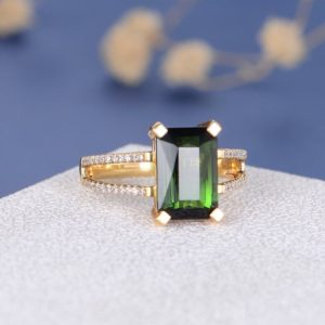 Green Tourmaline Ring Rose Gold Emerald Cut Tourmaline Engagement Ring Diamond Birthstone Anniversary Promise Wedding Ring Tapered Band | Natural genuine Gemstone rings, simple unique alternative gemstone engagement rings. #rings #jewelry #bridal #wedding #jewelryaccessories #engagementrings #weddingideas #affiliate #ad