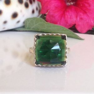 Green Tourmaline Ring – Square Crown Ring – Silver Ring – Green Gemstone Ring – Rose Cut Green Tourmaline – Engagement Ring | Natural genuine Gemstone rings, simple unique alternative gemstone engagement rings. #rings #jewelry #bridal #wedding #jewelryaccessories #engagementrings #weddingideas #affiliate #ad