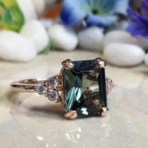 Green Tourmaline Ring – Statement Ring – Gold Ring – Engagement Ring – Rectangle Ring – Cocktail Ring – Gemstone Ring – Prong Ring | Natural genuine Green Tourmaline rings, simple unique alternative gemstone engagement rings. #rings #jewelry #bridal #wedding #jewelryaccessories #engagementrings #weddingideas #affiliate #ad