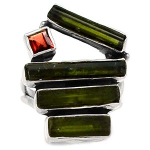 Green Tourmaline Rough 925 Silver Ring s.5.5 | Natural genuine stones & crystals in various shapes & sizes. Buy raw cut, tumbled, or polished gemstones for making jewelry or crystal healing energy vibration raising reiki stones. #crystals #gemstones #crystalhealing #crystalsandgemstones #energyhealing #affiliate #ad
