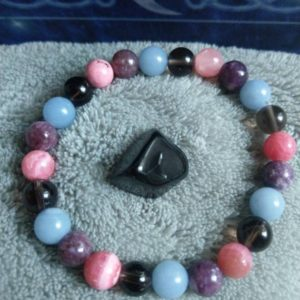 Shop Apache Tears Jewelry! Grief and Loss Support Crystal Healing Bracelet with Lepidolite, Smoky Quartz, Rhodochrosite, Angelite and Apache Tear Stone | Natural genuine Apache Tears jewelry. Buy crystal jewelry, handmade handcrafted artisan jewelry for women.  Unique handmade gift ideas. #jewelry #beadedjewelry #beadedjewelry #gift #shopping #handmadejewelry #fashion #style #product #jewelry #affiliate #ad