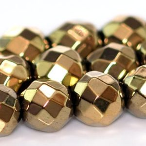 Shop Hematite Faceted Beads! Champagne Gold Hematite Beads Grade AAA Natural Gemstone Faceted Round Loose Beads 4MM 6MM 8MM Bulk Lot Options | Natural genuine faceted Hematite beads for beading and jewelry making.  #jewelry #beads #beadedjewelry #diyjewelry #jewelrymaking #beadstore #beading #affiliate #ad
