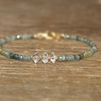 Moss Aquamarine And Herkimer Diamond Bracelet, Moss Aquamarine Jewelry, March Birthstone, Ombre, Gemstone Jewelry | Natural genuine Gemstone jewelry. Buy crystal jewelry, handmade handcrafted artisan jewelry for women.  Unique handmade gift ideas. #jewelry #beadedjewelry #beadedjewelry #gift #shopping #handmadejewelry #fashion #style #product #jewelry #affiliate #ad