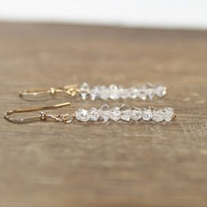 Shop Herkimer Diamond Earrings! Genuine Herkimer Diamond Earrings, Gold Filled or Sterling Silver Herkimer Diamond Jewelry, April Birthstone | Natural genuine Herkimer Diamond earrings. Buy crystal jewelry, handmade handcrafted artisan jewelry for women.  Unique handmade gift ideas. #jewelry #beadedearrings #beadedjewelry #gift #shopping #handmadejewelry #fashion #style #product #earrings #affiliate #ad