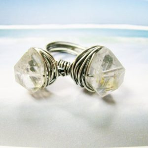Shop Herkimer Diamond Rings! Herkimer Diamond and Sterling Silver Filled Wire Wrapped Ring | Natural genuine Herkimer Diamond rings, simple unique handcrafted gemstone rings. #rings #jewelry #shopping #gift #handmade #fashion #style #affiliate #ad