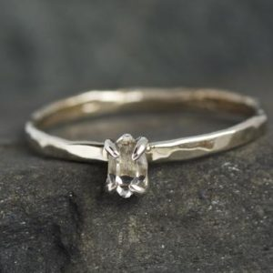 READY to SHIP. US Size 5.5. 18k White Gold Herkimer Diamond Ring. Herkimer Ring. Alternative Herkimer Diamond Engagement Ring | Natural genuine Herkimer Diamond rings, simple unique alternative gemstone engagement rings. #rings #jewelry #bridal #wedding #jewelryaccessories #engagementrings #weddingideas #affiliate #ad
