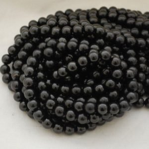 "High Quality Grade A Natural Shungite Round Beads – 4mm, 6mm, 8mm, 10mm, 12mm sizes – Approx 15.5"" strand 