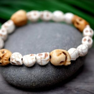 Shop Howlite Bracelets! Protection, Strength Bone & Natural Wood Skull Bracelet 13mm Bone And 8mm Howlite Large Skull White Bead Unisex, Mens, Womens, Kids | Natural genuine Howlite bracelets. Buy handcrafted artisan men's jewelry, gifts for men.  Unique handmade mens fashion accessories. #jewelry #beadedbracelets #beadedjewelry #shopping #gift #handmadejewelry #bracelets #affiliate #ad