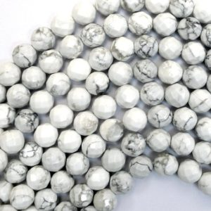 "10mm faceted white howlite round beads 15.5"" strand 38046 