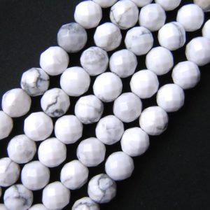 Shop Howlite Beads! Natural Howlite Beads, 8mm Beads, 6mm Beads, Faceted Beads, Howlite Beads, White Howlite, 8mm Gemstone Beads, Faceted Gemstone, 8mm Howlite | Natural genuine beads Howlite beads for beading and jewelry making.  #jewelry #beads #beadedjewelry #diyjewelry #jewelrymaking #beadstore #beading #affiliate #ad