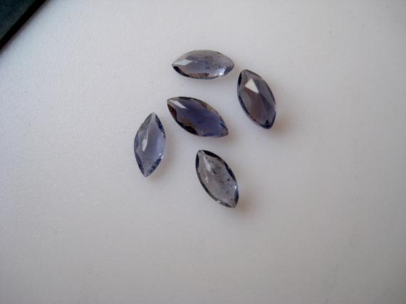 20 Pieces 6x3mm Each Natural Blue Iolite Marquise Shaped Faceted Gem Stones Cabochon Loose, Blue Color Iolite Cabochon Gem Stones, Bb107