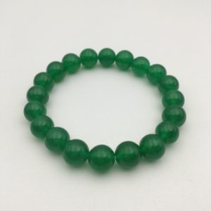 "Shop Jade Bracelets! Green Dyed Jade Bracelet Smooth Round Size 8mm 10mm 7.5"" Length 