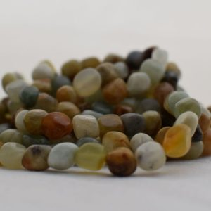 "Shop Jade Chip & Nugget Beads! High Quality Grade A Natural Old Jade Semi-precious Gemstone Pebble Tumbled stone Nugget Beads approx 7mm-10mm – 15"" strand 